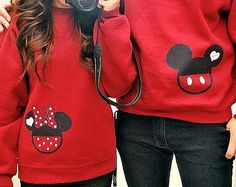 Sweatshirts - Mickey or Minnie Sweetheart Sweatshirts - Disney Birthday Family Custom Sweat Shirt Personalized Applique Head With Name