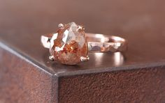 Natural Red Rose Cut Diamond Ring in 14kt Rose by LexLuxe on Etsy, $1695.00