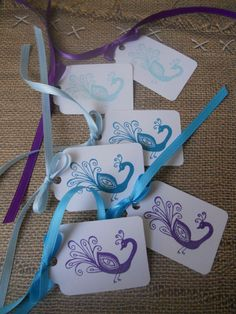 Set of Six 6 Peacock Gift Tags by MyPrettyPaper on Etsy, $1.99