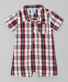 This U.S. Polo Assn. Red & White Plaid Romper - Infant by U.S. Polo Assn. is perfect! #zulilyfinds