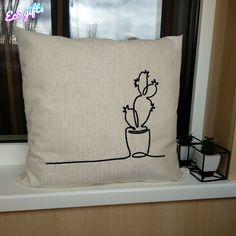 Стильная интерьерная подушка для людей, которые с юмором смотрят на жизнь. Рисунок в одну линию выполнен акриловой нитью по льняной основе без... Personalized Gifts, Throw Pillows, Handmade, Cactus, Toss Pillows, Hand Made, Customized Gifts, Cushions, Decorative Pillows