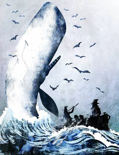 Illustration by Jürgen Tetzlaff for Moby Dick Whale Song, Moby Dick, Great Whale, Whale Decor, Whale Tattoos, White Whale, Sea Creatures, Dark Art, Whales