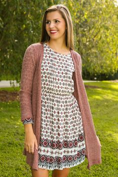 Knit Happens Cardigan-Mauve - New Today | The Red Dress Boutique