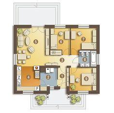 DOM.PL™ - Projekt domu ARC Ares bez garażu CE - DOM AR8-76 - gotowy koszt budowy House Layout Plans, Small House Plans, House Layouts, Bungalow House Design, Modern House Design, Cottage Exterior, Box Houses, Design Case, Cabana