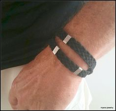 Check out this item in my Etsy shop https://www.etsy.com/il-en/listing/240926195/mens-black-leather-braided-bracelet