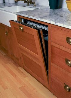 Genial A Dishwasher Panel With Two Drawers And A Vintage Look Bin Pull Is Closely  Modeled