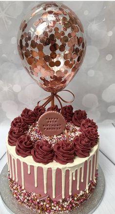 diy birthday cake for girls easy Farben und Plakette Idee baby kuchen Beautiful Birthday Cakes, Beautiful Cakes, Amazing Cakes, Colorful Birthday Cake, 21st Birthday Cakes, Gold Birthday Party, 18th Birthday Cake For Girls, Gold Party, Birthday Cake With Roses