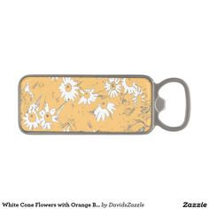 White Cone Flowers with Orange Background Bottle Opener Available on more products, type in the name of this design in the search bar on my products page to view them all!  #cone #daisy #shasta #calendula #floral #flower #orange #blue #white #grey #gray #pattern #print #all #over #abstract #plant #nature #earth #life #style #lifestyle #chic #modern #contemporary #home #decor #kitchen #dining