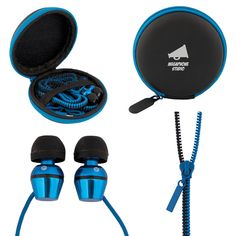 TANGLE-FREE ZIPPER EARPHONES WITH POUCH - unreal product. Available in black with royal blue or white