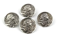 Antique Art Nouveau Silver Buttons.
