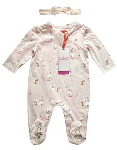 Baker by Ted Baker Baby Girls/' Light Pink Bird Print Sleepsuit and Headband