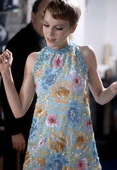 "Mia Farrow in beaded and sequined mini by Pierre Cardin for the film ""A Dandy in Aspic"", photo by Bill Epperidge, May 1967 Mod Fashion, 1960s Fashion, Fashion Week, Vintage Fashion, Dress Fashion, Retro Mode, Vintage Mode, Vogue Vintage, Paris Couture"