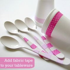 The Haby Goddess: 10 Minute Craft: Add fabric tape to tableware. Love this idea! Found a place to get lots of washi tape too! The Haby Goddess: 10 Minute Craft: Add fabric tape to tableware. Love this idea! Found a place to get lots of washi tape too! Festa Party, Diy Party, Party Gifts, Party Ideas, Fancy Party, Washi Tape Crafts, Diy Crafts, Birthday Fun, Birthday Parties
