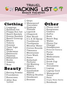 Beach Packing List  What To Bring With You  Vacation Packing