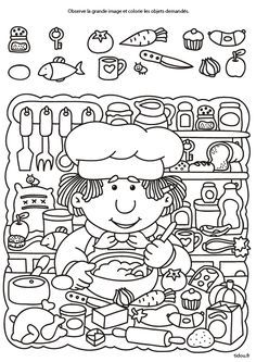Drawings to color with children. 10 sheets to make them fall in love - Decor Scan : The new way of thinking about your home and interior design Pre K Activities, Gross Motor Activities, Kids Learning Activities, Montessori Activities, Hidden Pictures Printables, Hidden Picture Puzzles, Sudoku, Food Art For Kids, Kids Math Worksheets