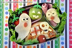 Halloween bento Look at all the spooky little characters. You maybe to spooked to eat this bento! Halloween Snacks, Healthy Halloween, Halloween Dinner, Easy Halloween, Homemade Halloween, Healthy Lunches For Kids, Kids Meals, Lunch Kids, Halloween Saludable