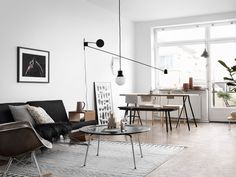 Black and White living, with mid-century accent