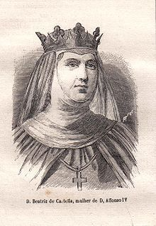 Beatrice of Castile (1293 - 1359). Queen of Portugal from 1325 until 1357, when her husband died. She married Afonso VI and had three surviving children.