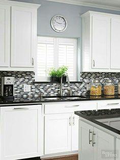 New Kitchen Colors With White Cabinets Modern Dark Counters 30 Ideas Glass Backsplash Kitchen, Backsplash For White Cabinets, Kitchen Wall Tiles, Painting Kitchen Cabinets, Kitchen Paint, New Kitchen, Dark Cabinets, Kitchen White, Backsplash Ideas