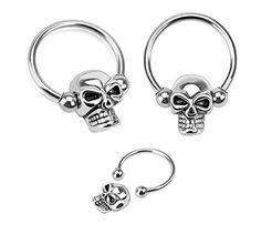 "Pair of Skull skeleton Hypoallergenic Surgical Steel Captive bead horseshoe Ring lip, belly, nipple, cartilage, tragus, earring body Jewelry piercing hoop - 14 gauge, 1/2"" (12mm) 14g"