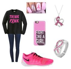 """Think pink!"" by a-hidden-secret ❤ liked on Polyvore featuring Frame Denim, NIKE, West Coast Jewelry and Casetify"