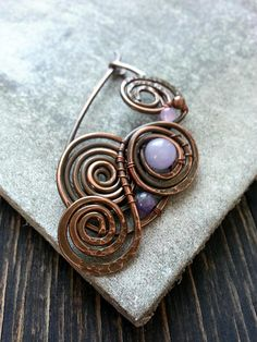 Copper Shawl Pin or Scarf Pin or Sweater Pin (fastener, fibula, brooch Bohemian The mood of this brooch or shawl pin is boho, warm, feminine Technique: This copper shawl pin or scarf pin is hand-formed, hand-hammered, and wire wrapped by Lirimaer. Colour: oxidized copper,