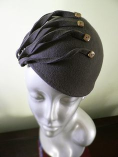 Taupe Hand Blocked Wool Hat with Vintage Buttons OOAK
