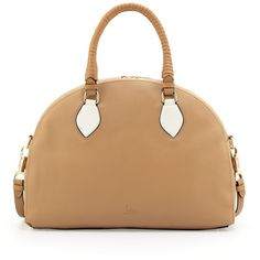 Christian Louboutin Panettone Large Dome Satchel, Beige/White ($1,536) ❤ liked on Polyvore featuring bags, handbags, purses, white handbags, white hand bags, satchel purse, man bag and tote purse