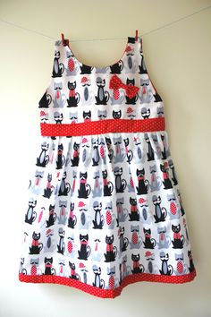 Cat print dress cats with moustaches bowler by SecretSquirrel13