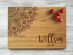 Custom Cutting Board Mandala Gift for Couple Boho Wedding Gift