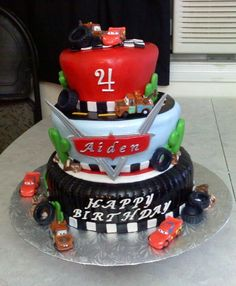 \Cars Birthday cake for Arkhem's birthday! He is obsessed with cars so I am pretty sure he would love this cake! Disney Cars Cake, Disney Cars Party, Disney Cars Birthday, Car Themed Parties, Cars Birthday Parties, Birthday Fun, Birthday Ideas, Birthday Cakes, Fruit Birthday