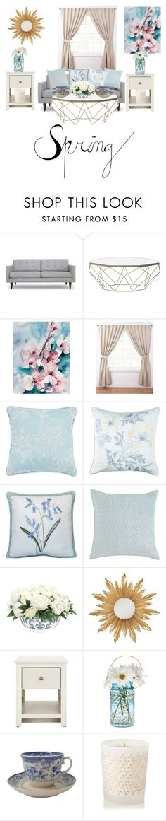 """Spring florals "" by alyssia00 ❤ liked on Polyvore featuring interior, interiors, interior design, home, home decor, interior decorating, Joybird Furniture, ExceptionalSheets, Seaspray and Nostalgia"