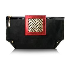Poupee Couture Art Deco Clutch - Red Leather ($175) ❤ liked on Polyvore featuring bags, handbags, clutches, purses, black, black leather purse, genuine leather handbags, leather clutches, red clutches and genuine leather purse