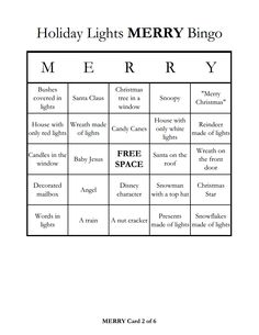 Holiday light tour bingo... this would be fun as you take the kids out to see the Christmas lights.