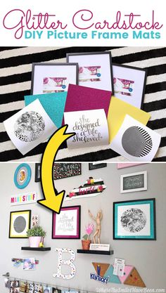 Easy & Inexpensive DIY Picture Frame Mats from Glitter Cardstock | Where The Smiles Have Been