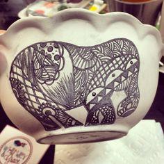 Zen tangle elephant bowl I painted