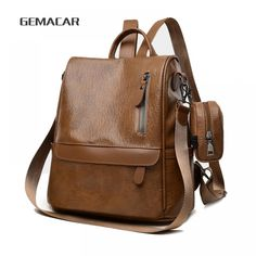 f08b735b22a Minimalist Female Backpack Pu Leather Waterproof Rucksack with Small Purse  Black Brown Large Capacity Bags Price