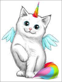 Nikita Korenkov Einhorn Katze Einhorn Kunst Tiere Malen Einhorn Zeichnung