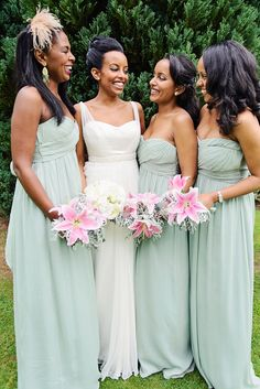A Romantic, Dreamy and Elegant Country Manor Wedding with brides in seafoam green/eau de nil. http://www.theresafurey.com/