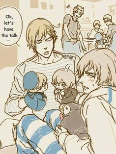 XD<< LOOK AT BABY SEALAND!!! All cute and tugging on Daddy Sweden's arm!!!