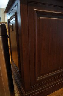 Kitchen Island Close Up closeup of new shaker style doors and drawers refinished to a