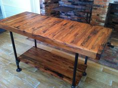 Kitchen island, industrial butcher block style, reclaimed wood and steel