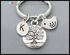 INITIAL / TREE of Life / DOVE Key Ring  by OhValentinaJewelry