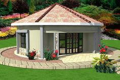 little round house House Roof Design, Flat Roof House Designs, Village House Design, Round House Plans, Dream House Plans, House Floor Plans, Style At Home, Morden House, Single Storey House Plans