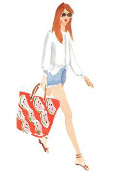 Summertime. White button down, denim shorts, watermelon print bag. Illustrator: Caitlin McGauley.
