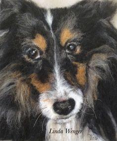 Gracie, a needle felted memorial portrait.