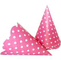 Polka Dots Pink Color Dotted Cap Set Of 10
