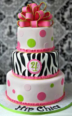 Polka Dots & Animal Print Cake
