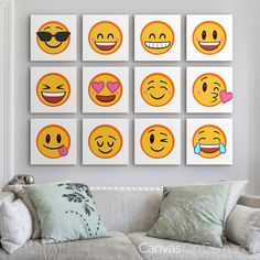 Say what's on your mind or match the mood of your decor with our Emoji Art Prints Collection. Our emoji canvases are available in a variety of sizes and styles, we have an expression for every mood! Available at CanvasOnDemand.com.