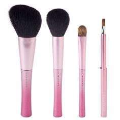 CHIKUHODO Noel Collection Rose Brush Set | This limited edition Noel Collection Rose Brush Set is made of four beautifully handcrafted brushes that feature a glimmering, rosy pink ombré handle design and are made with 100% natural goat, pine squirrel, and weasel hair. | $120